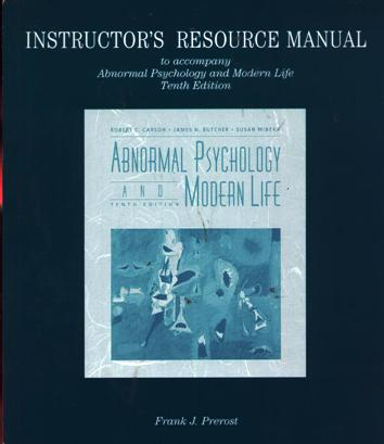 Image for Instructor's Resource Manual To Accompany Abnormal Psychology And Modern Life Tenth Edition