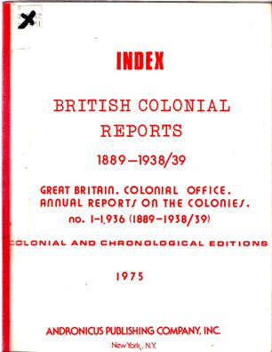 Image for Index British Colonial Reports 1889-1938/