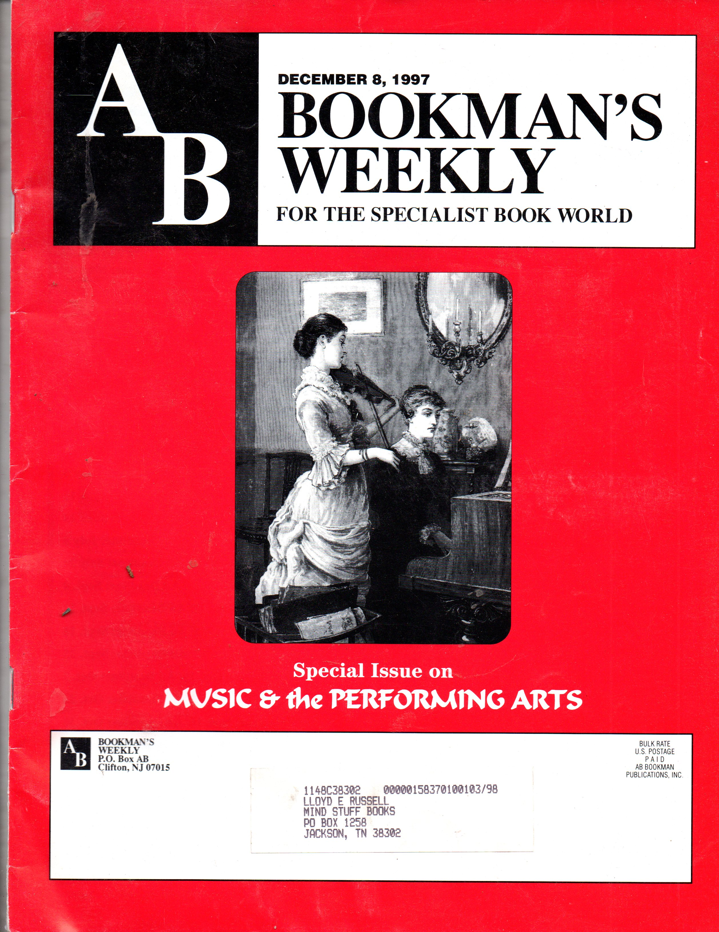 Image for AB Bookman's Weekly December 8, 1997