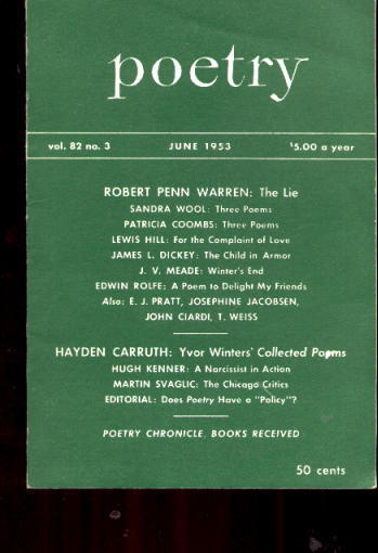 Image for Poetry magazine: June 1953, Vol. 82, No. 3