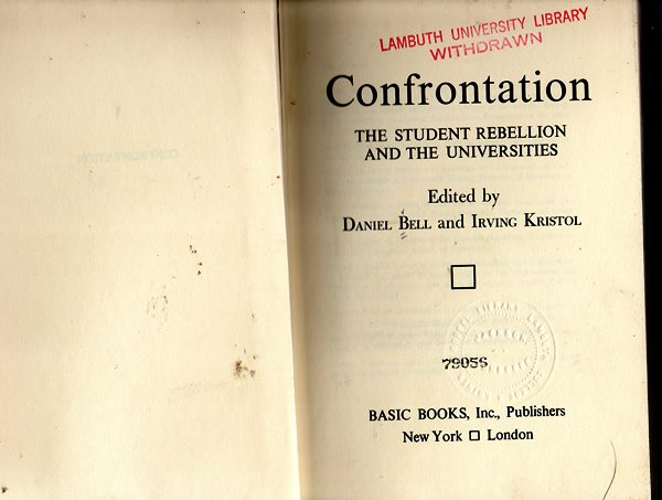Image for Confrontation: The Student Rebellion And The Universities