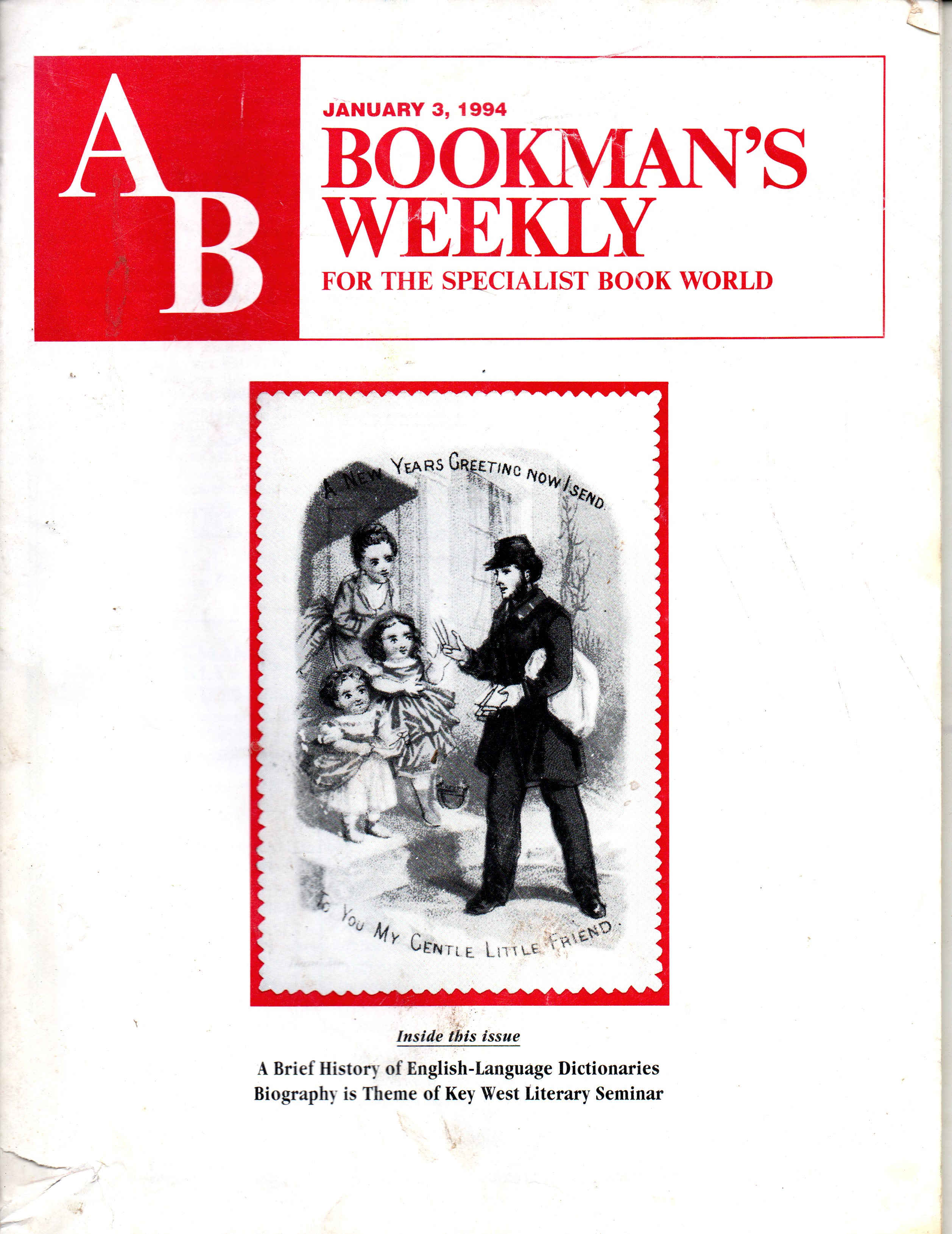 Image for AB Bookman's Weekly January 3, 1994
