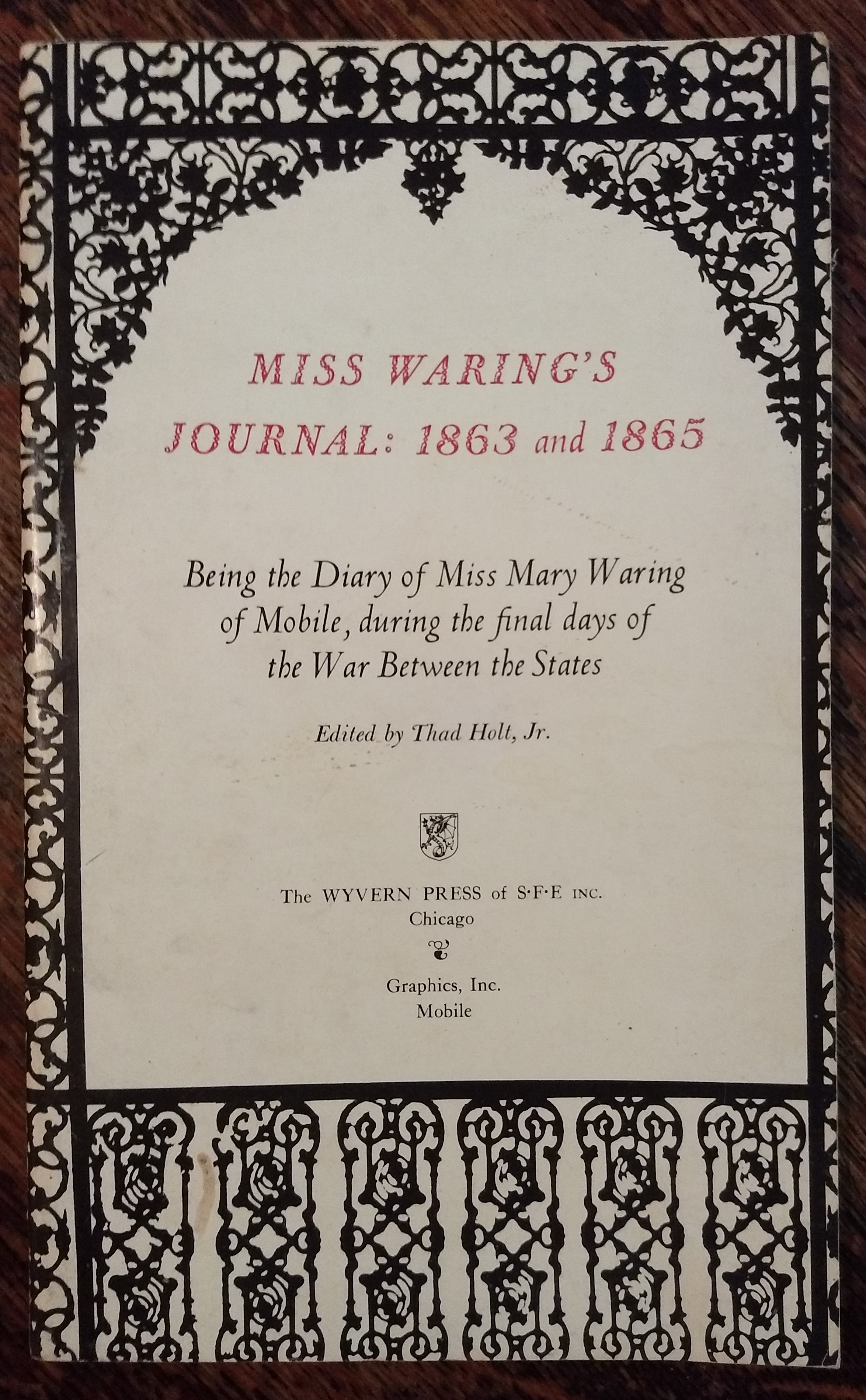 Image for Miss Waring;s Journal: 1863 and 1865